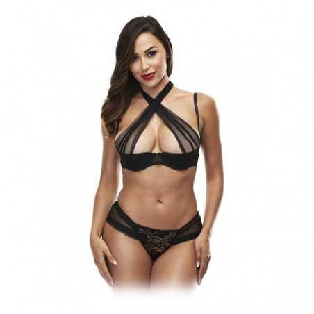 Lace Underwear Set Criss Cross Baci Lingerie Black