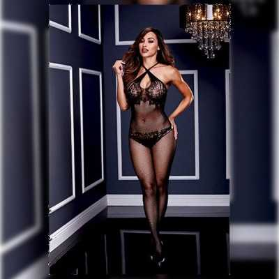 Floral Lace Crotchless Bodystocking One Size Baci Lingerie