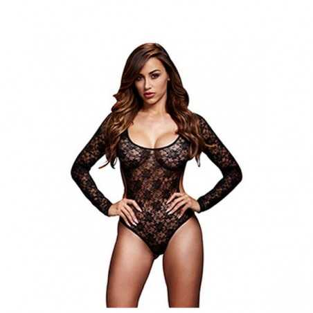 Black Lacy Bodysuit Back Cutout One Size Baci Lingerie BW3102