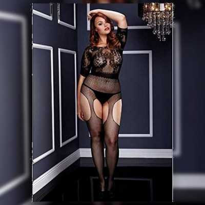 Crotchless Suspender Bodystocking Queen Size Baci Lingerie