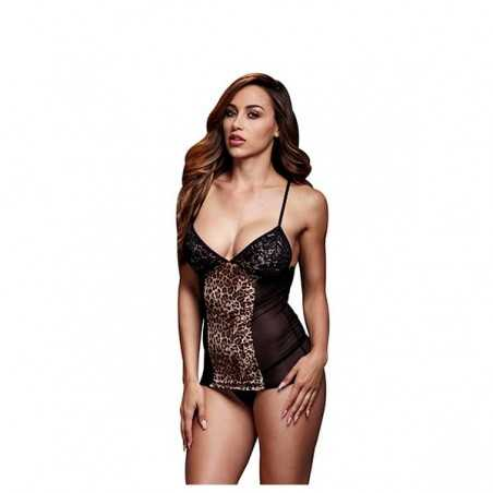 Leopard Basque & Garter Stays No Panty One Size Baci Lingerie