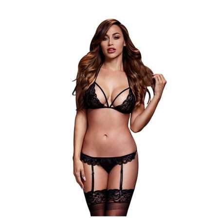 Black Lacy Bra Garter & Open Crotch Panty One Size Baci