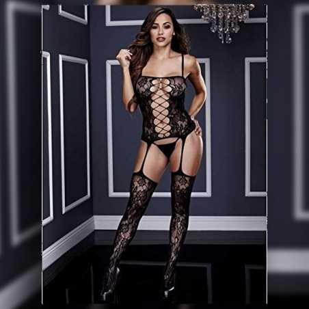 Corset Front Suspender Lace Bodystocking One Size Baci Lingerie