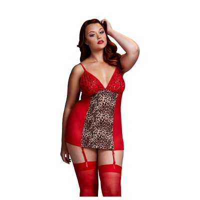 Leopard Basque & Garter Stays No Panty Queen Size Baci Lingerie
