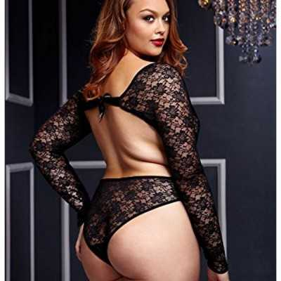 Black Lacy Bodysuit Back Cutout Queen Size Baci Lingerie BW3102