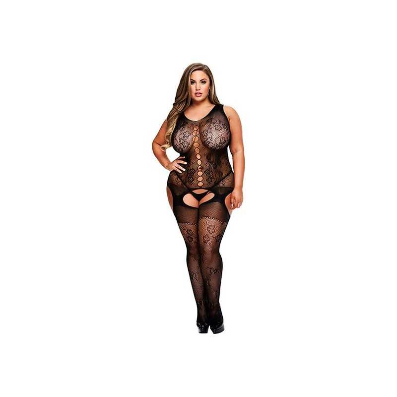 Crotchless Suspender Bodystocking Queen Size Baci Lingerie 00483