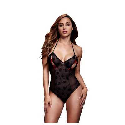 Black Lace Bodysuit & Bra Slits Red Bow One Size Baci Lingerie