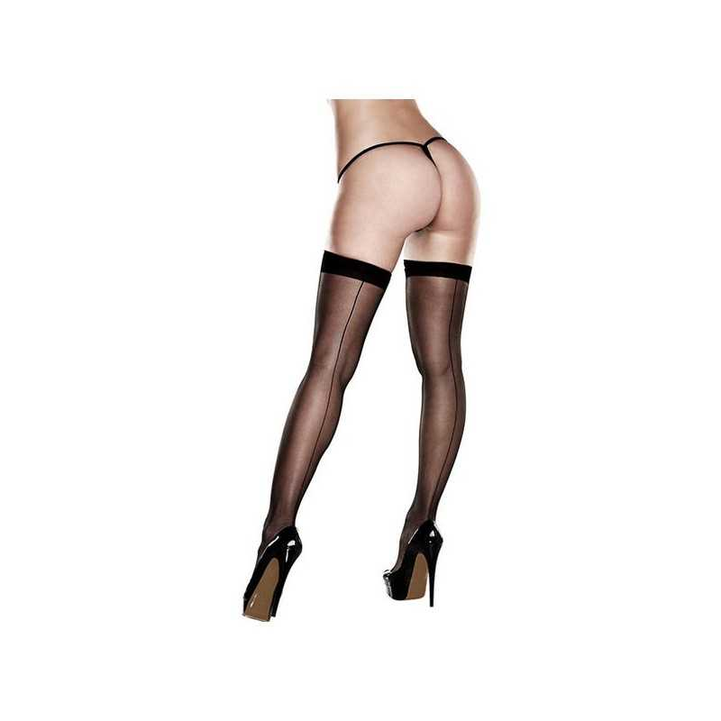Sheer Thigh Highs With Backseam With Banded Silicone Stay-Up