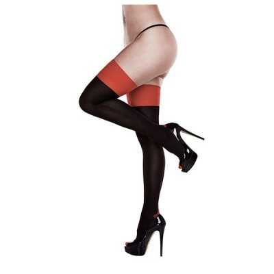 Black Opaque Red Cuban Heel Thigh Highs One Size Baci Lingerie