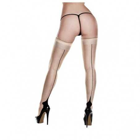 Nude Opaque Cuban Heel Thigh Highs One Size Baci Lingerie 83250